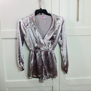 L'ATISTE Deep V satin robe long sleeve romper